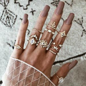 Retro-12Pcs-Set-Women-Silver-Boho-Arrow-Moon-Flower-Midi-Finger-Knuckle-Rings