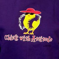 Red Hat Society Ladies Purple Sweatshirt Chick With Attitude Size Small