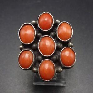 Vintage-NAVAJO-Sterling-Silver-amp-Old-Red-Mediterranean-CORAL-Cluster-RING-sz-6-5