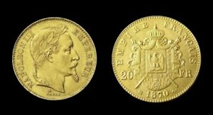 COPIE-Piece-plaquee-OR-GOLD-Plated-Coin-20-Francs-Napoleon-Tete-Lauree-1870-BB