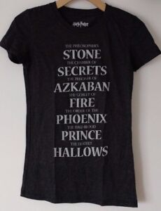 Details about HARRY POTTER 7 BOOKS MOVIES LIST GRAPHIC TEE T-SHIRT WOMENS  OFFICIALLY LICENSED