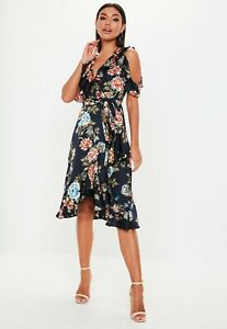 MISSGUIDED-Navy-Floral-Frill-Midi-Dress-Size-10-BNWT-RRP-35