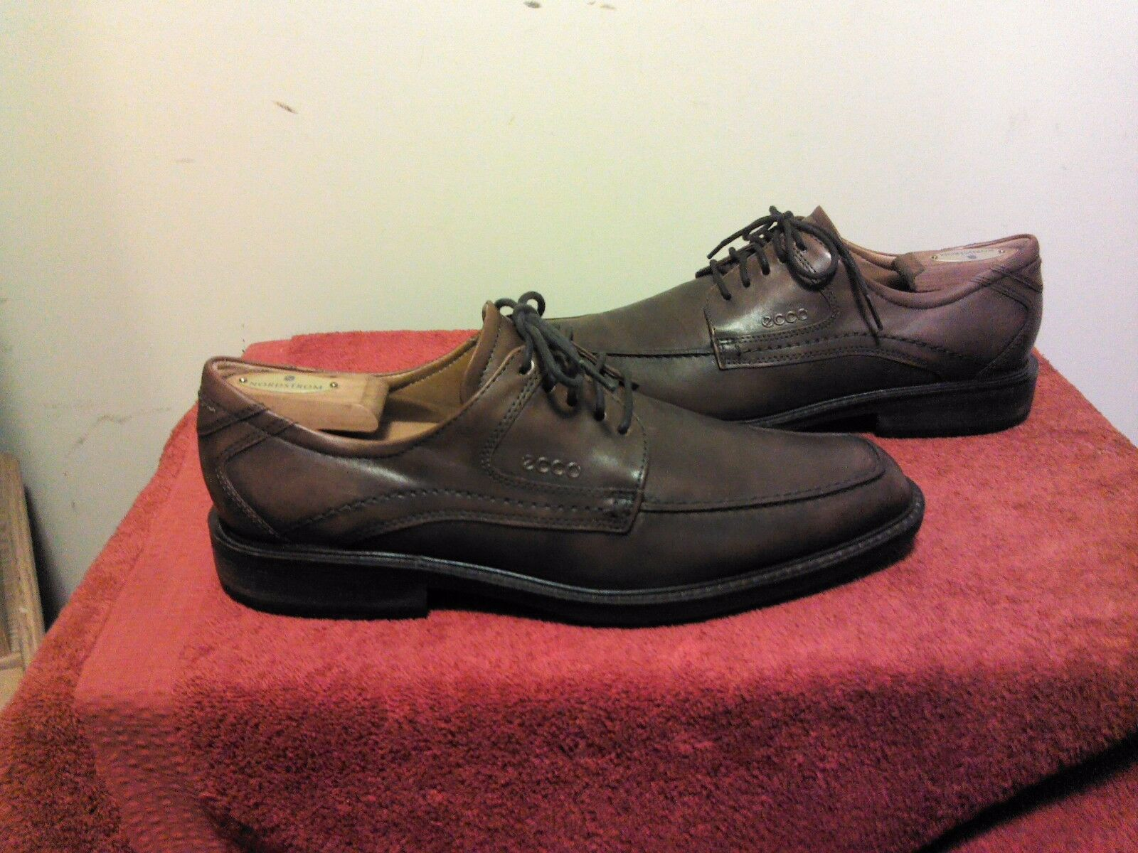 ECCO Men's Dublin Apron Toe Tie Brown Leather Oxford Sz 44 9.5-10 WIDE