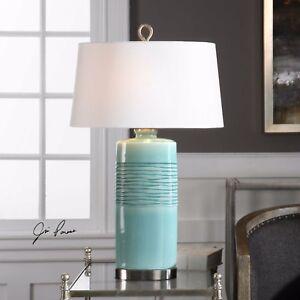 Modern 32 Oval Column Aged Teal Ceramic Table Lamp Light Brushed