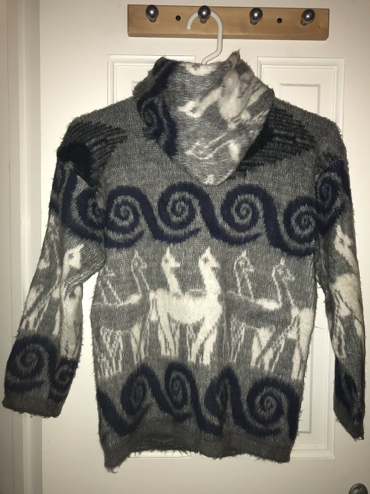 Wool Grey bluee Cardigan Sweater Hoodie Llama  Ecuador Women XXS, Kids 14 XL USA