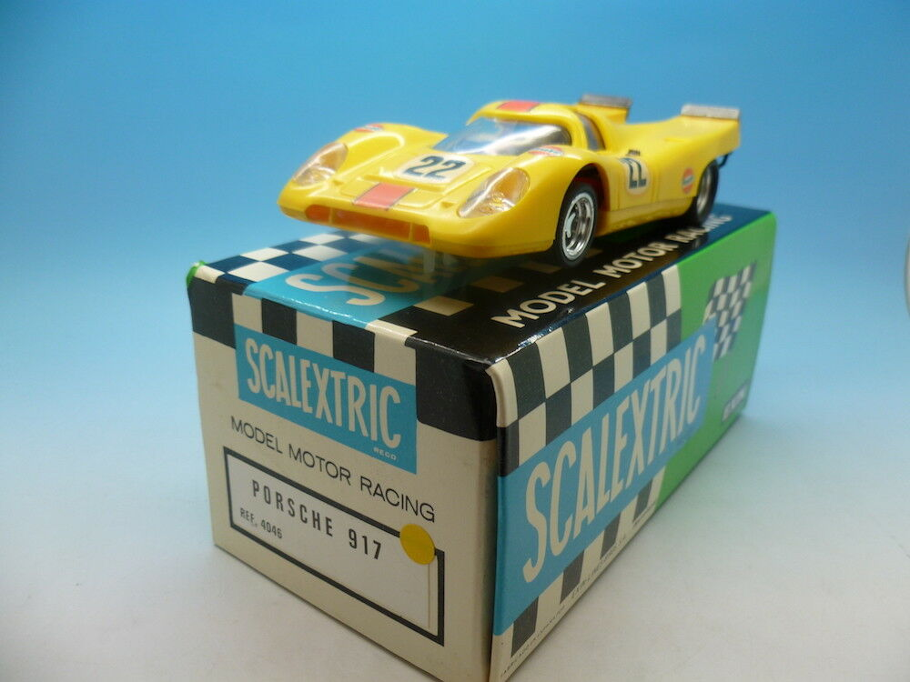 Scalextric Spanish Porsche 917 4046 in yellow, very very clean car and boxed