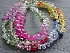 "CUT BLUE, PINK, GREEN SAPPHIRE BRIOLETTES, 2.5x4.5mm - 3x5mm, 16"", 220+ beads"