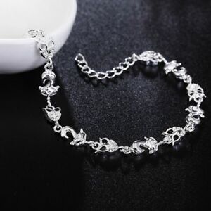 Charm-Women-Rhinestone-Cuff-Bracelet-New-Plated-Chain-Bangle-Crystal-Fox