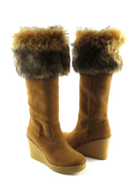 57ef93ba9414 UGG Australia Valberg Fur Cuff Chestnut Suede Knee High Wedge Tall Boot  Size 9 for sale online