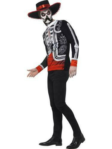 Hat Mens Halloween Fancy Dress Skeleton Adults Costume Day of the Dead Senor