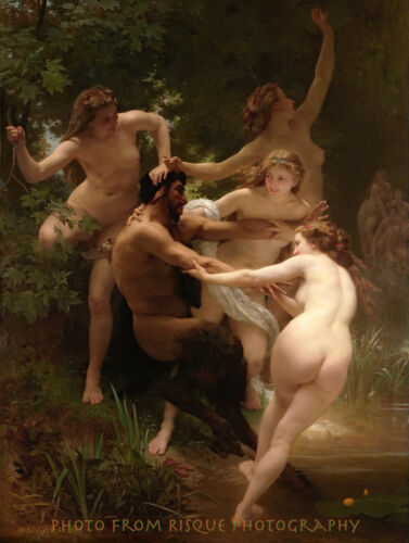 "Nymphs Surrounding Satyr 8.5x11/"" Photo Print William Bouguereau Fine Art Nude"
