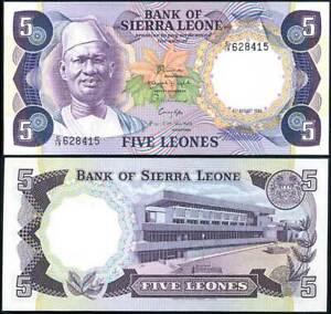 SIERRA-LEONE-5-LEONES-1984-P-7-AU-UNC