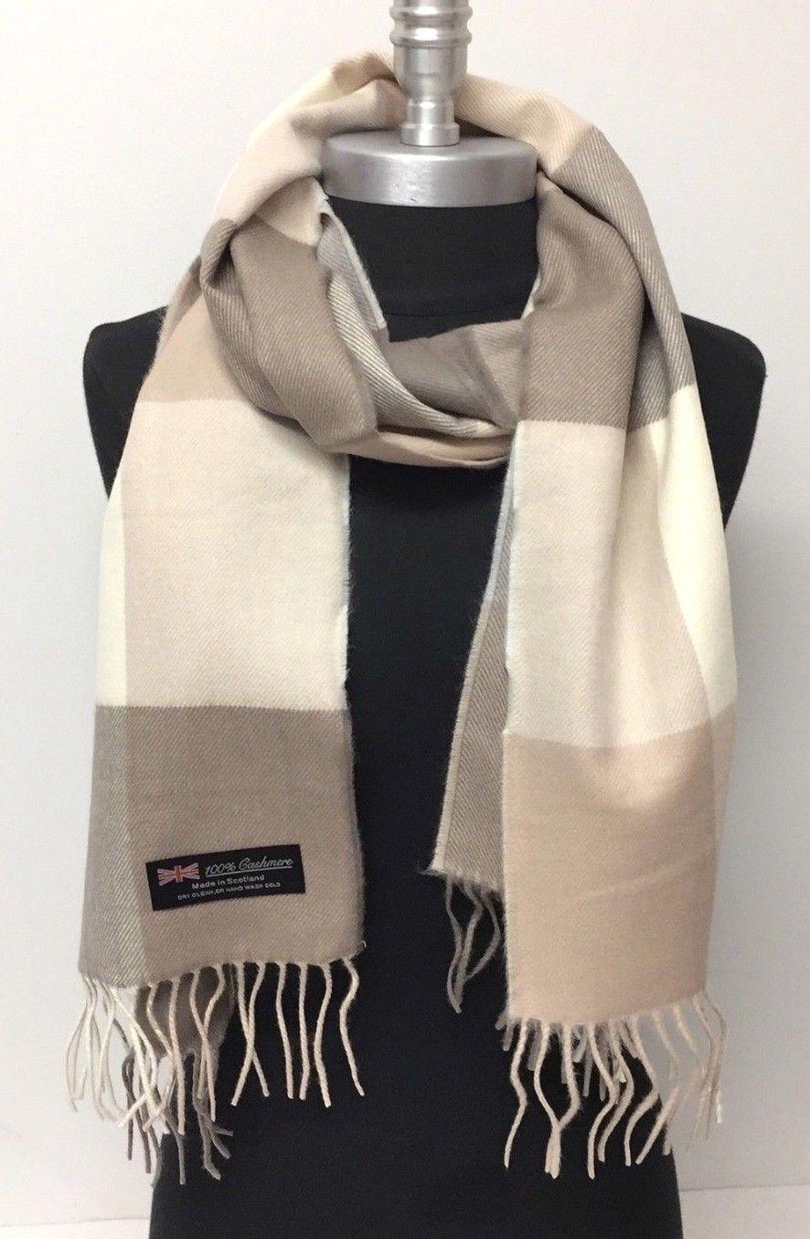 Women's Winter Warm 100% Cashmere Scarf Wrap SCOTLAND Plaid Khaki Tan Cream #N01