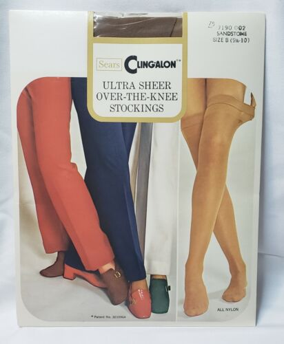 Vintage Sears Cling-alon Stockings New Mocha Ultra Sheer Thigh High Nylon Thi Top Mesh Knit Shapely Size B