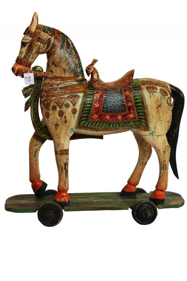 Asia Garten Dekofiguren Deko Figur Tierfiguren Holz Pferd Bunt Skulpturen groß