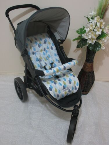 Handmade pram liner set-Blue leaves-100/% cotton*Funky babyz