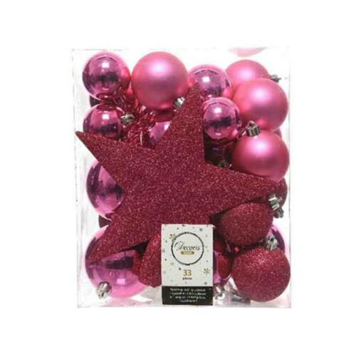 Set Of 33 Pink Luxury Baubles With A tree Topper Christmas Tree Decorations