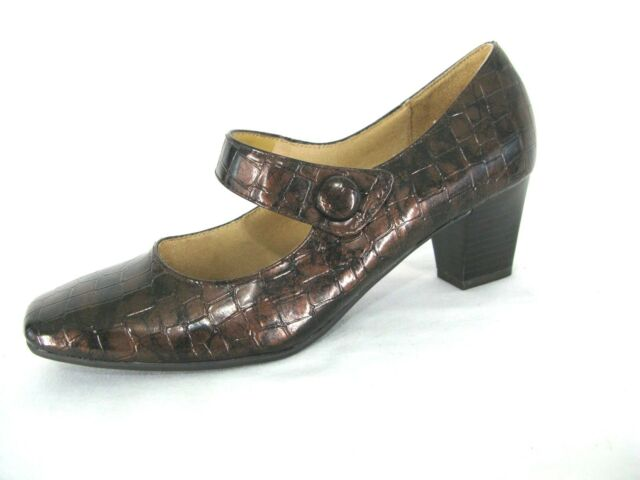 728be5a9c85 Life Stride Shoes 8.5 M Mary Jane Pumps Patent Brown Croc Heels Sindy Women  NWOB