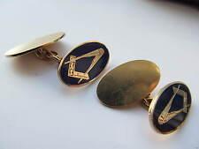 Hallmarked English 9ct gold Masonic cuff links