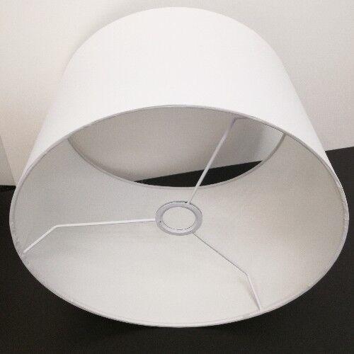 Stoff Lampenschirm E27 rund Baumwolle Weiß 40 Textilschirm Tischlampe Stehlampe
