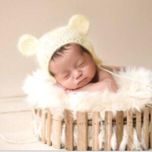 Hat Set NewbornBaby Girls Boy Photography Prop Photo Crochets Knit Costume Bear