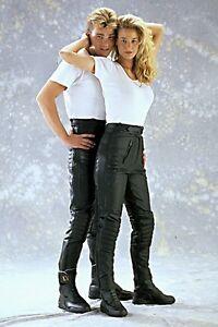 Stiefelhose Motorradhose Kombihose Tourerhose schwarz Lederhose Damen und Herren