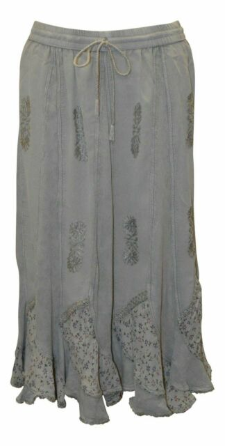 Free Size boho gothic handkerchief embroidered lace floral midi skirt 10-22