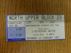 15-02-1997-Ticket-Millwall-v-Rotherham-United-Thanks-for-viewing-our-item-i