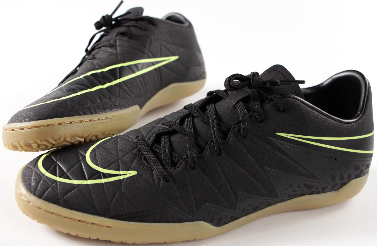 NIKE Hypervenom Phelon II IC indoor soccer shoes- NEW- black & gum sneakers