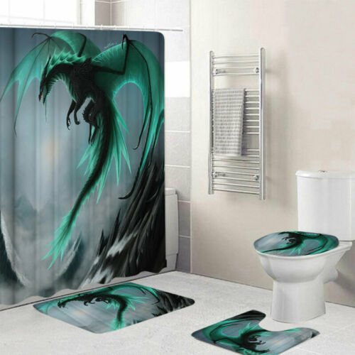 Badezimmer Set Duschvorhang Badezimmerteppich Badematte Deckelbezug Wasserdicht