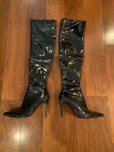 hot topic black patent women's knee high boots 4 inch heel