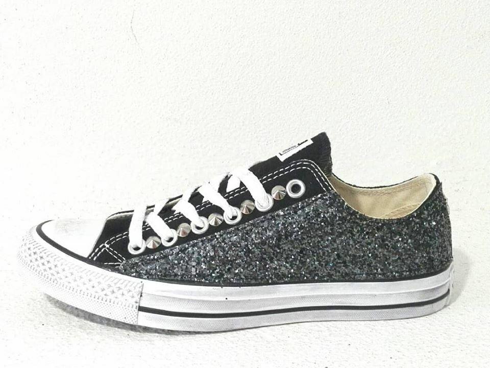 Converse all star OX black glitter CANNA artigianale