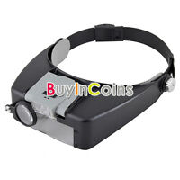 10x Magnifying Glass LED Light Head Headband Magnifier Loupe W/ Sunshield Stable