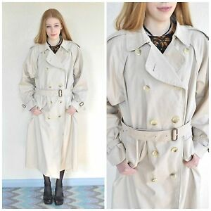 Vintage-Burberry-Trench-Coat-Rain-Jacket-Mac-Check-Lined-Beige-Cream-16-Ex-Long