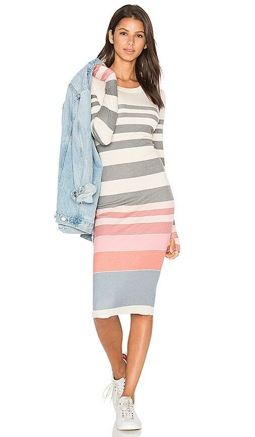 Wildfox Couture Multicolor Sunset Stripe Long Sleeve Jersey Knit Dress Sz M NEW