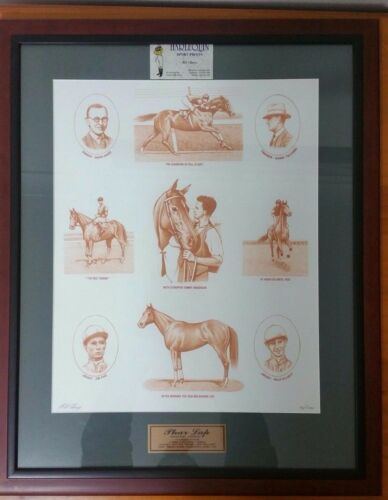 Framed Phar Lap Print Signed By Bill Cherry Artist Limited Edition #14 of 1000