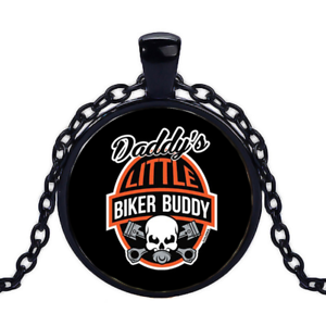 Vintage Daddy/'s Little Biker Buddy Black Cabochon Glass Necklace chain Pendant