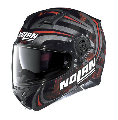 Helmet Motorrad Nolan N87 Ledlampe Black Red 30 Size L Casque Helm