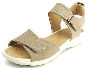 Details zu GEOX Damen Sandale SUKIE beige 2x KLETT atmungsaktive Sohle