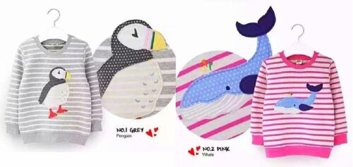 MINI ZONE Girls Jumpers 2 Designs Penguin or Whale Good Quality Grey//Pink COTTON
