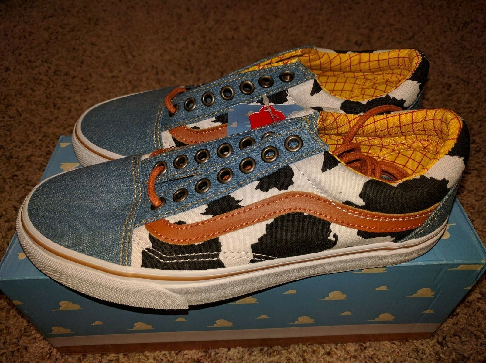 Vans Old Skool x Toy Story Woody Cowboy Denim Disney Cow Print Low Land NEW RARE