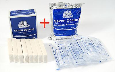 3x 500ml EMERGENCY WATER SURVIVAL SEVEN OCEANS NORWAY MRE FOOD RATION MEAL SOS