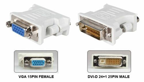 DVI 24+1 pin Male to VGA Female 15-pin Connector Adapter Dual Link