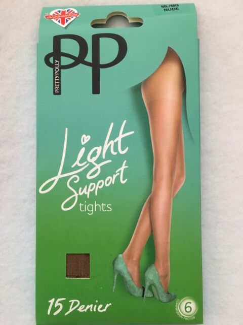 Ladies Pretty Polly M//L Light Support 15 Denier Tights Barely Black Colours