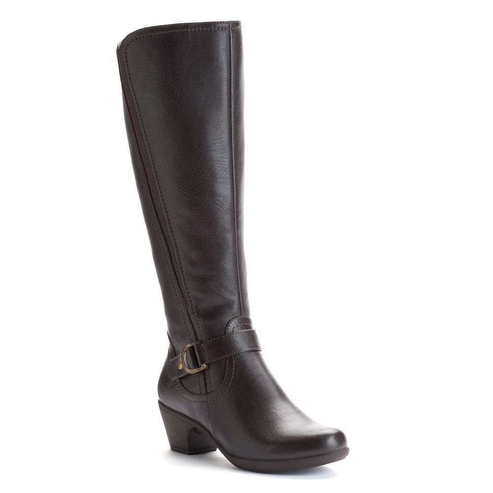 Damens CROFT & BARROW Wide Calf Tall Boot High Knee High Boot Chunky Stacked Heel BROWN 9.5 62ef9b