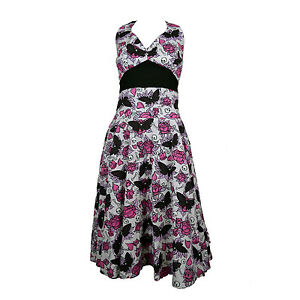Vixxsin-Butterfly-amp-Pink-Rose-amp-Skulls-Classic-White-Halter-Neck-Mia-Dress