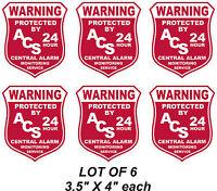 Lot Of 6 Burglar Alarm Security Outdoor Vinyl Window Decal Sticker Signs