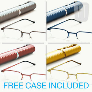 Semi-Rimless-READING-GLASSES-amp-Tube-Case-GREY-Blue-Red-Gold-1-00-to-3-50