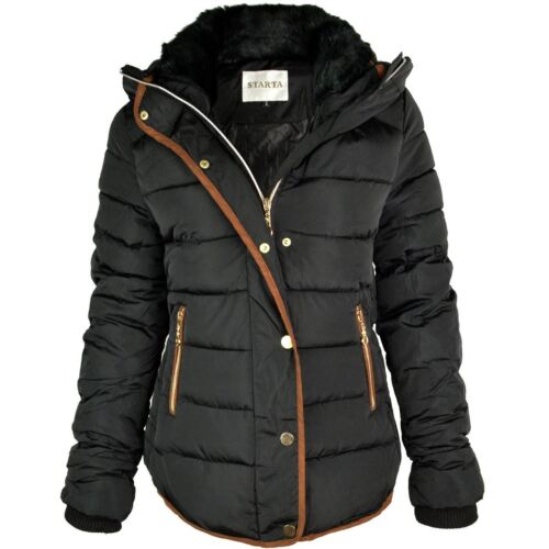 Parka Nuevo Adornos Puffer Abrigo Tamao Marrᄄᆴn Negro Zip dorado de piel Damas mujer de Cuello invierno capucha de con Chaqueta Acolchado ZqOgq