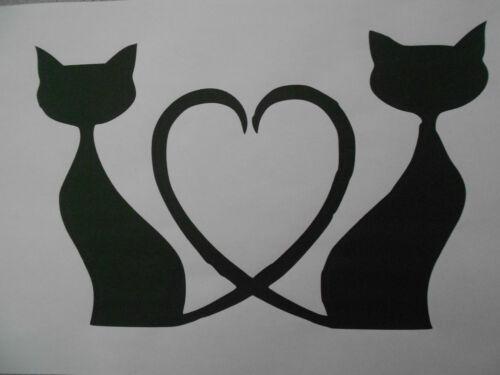 Gabarit Chats avec cœur sur a4